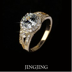 18K Gold plated 2 carat Round Swiss Cubic Zirconia & Channel Mounting Halo Engagement Rings (Jingjing JR004A)