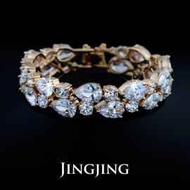 18K Gold Plated My Mona Lisa Clear CZ stones Cluster Bracelet  (JingJing JB018)