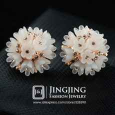 New 18k Gold Plated Acrylic Rose flower Cluster Inlays Golden Rhinestones Jewelry Earrings for Women (JingJing GE091)