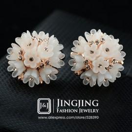 New 18k Gold Plated Acrylic Rose flower Cluster Inlays Golden Rhinestones Jewelry Earrings for Women (JingJing GE091)