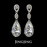 Bridal Earrings Clear White Cubic Zirconia Teardrop Earrings Long Dangle Large CZ Diamond Earring Wedding Jewelry for Bridesmaid