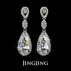 Bridal Earrings Clear White Cubic Zirconia Teardrop Earrings Long Dangle Large CZ Diamond Earring Wedding Jewelry for Bridesmaid