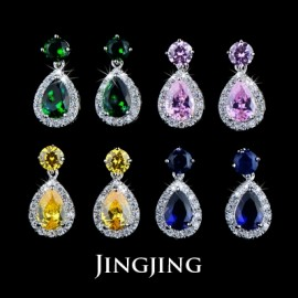 Fashion Classic Cute Jelly Drop Cubic Zirconia Earrings 4 Colors Available (JingJing JE092)