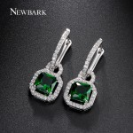 NEWBARK Trendy Lock Princess Cut Zirconia Diamond Vintage Earrings Emerald And Clear Two Color Choices Women Jewelry