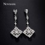 NEWBARK Vintage Hallow Cross Earrings Multi Shaped Cubic Zirconia Diamond 18K White Gold Plated Women Jewelry Brand