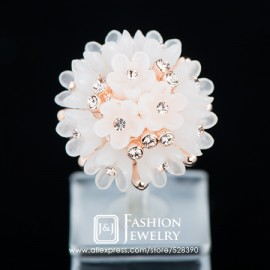 New Arrival Female Finger Ring 18K Real Gold Plated Acrylic Resin Rose flower Cluster Inlays Golden Rhinestones Rings for Women