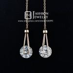Nice! Rose Gold Plated 2 carat Swiss Cubic Zircon Crystal Gracious Long Line Drop Earrings (JingJing GE038A-1)