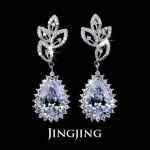 Olive Leaves Long Dangle Bride Earrings With 4.5ct Teardrop Shaped Swiss Cubic Zirconia Diamond Earrings (JE003)