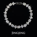 White Gold Plated Four Leaves CZ Flower Connected Bracelet (JingJing JB039)