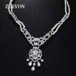 ZOEVON 2015 Fashion Jewelry For Women Statement Necklace Water Drop Radiant Cut CZ And Pearl Multi Layer Necklace