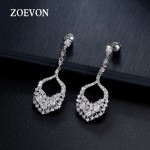 ZOEVON Noble Shaped Full Paved Feather Earrings With Sparking Round Cubic Zirconia Diamond Fashion Women Drop Earrings
