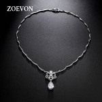 ZOEVON Romantic Hollow Out Butterfly & Pear Shaped Zirconia Necklaces Pendants 28 Pcs Curving Chain Connected Women Jewelry