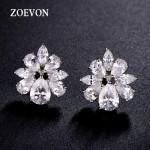 ZOEVON Stud Earrings Flower Shape Brilliant Pear Cut and Marquise Cubic Zirconia Earrings For Women Wedding Jewelry