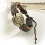 Mens Wrap Leather Charm Infinity Bracelet