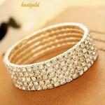 Womens Crystal Rhinestone Elastic Bracelet
