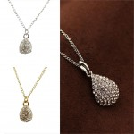 Romatic Water Drop Pendant Necklace Fashion Crystal Chain Necklace Fashion Sterling Silver&Golden Statement Choker Necklace