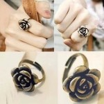 Fashion Retro Vintage Gothic Cute Alloy simple Rose Flower Ring adjustable finger rings for women fine jewelry accessories